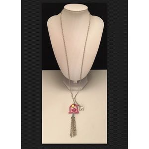 Plunder KAIA Pink Bird Cage Silver Necklace